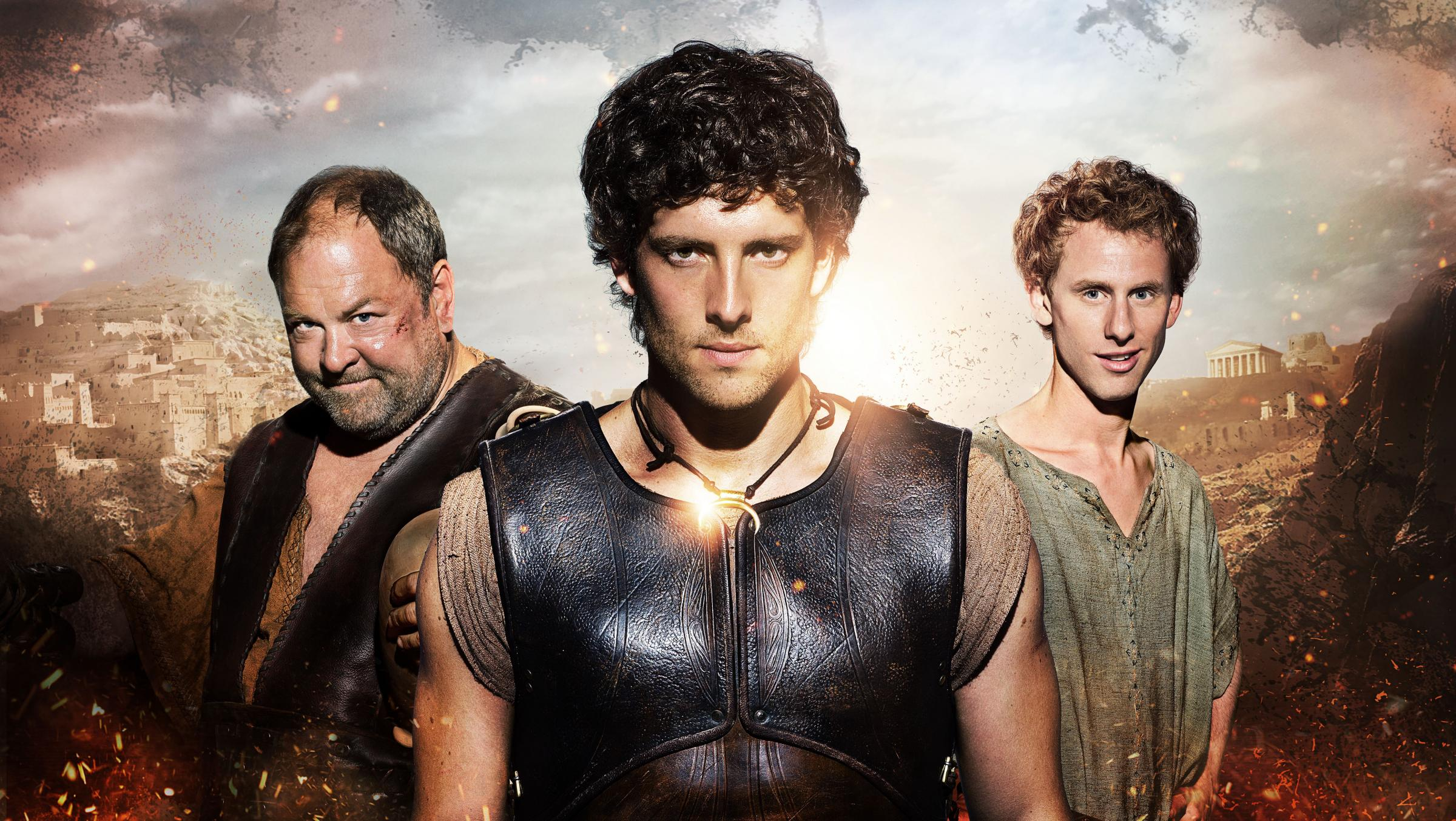 Hollywood actor Mark Addy (left) with his co-stars in Atlantis. The ancestors of the York actor are being commemorated wit