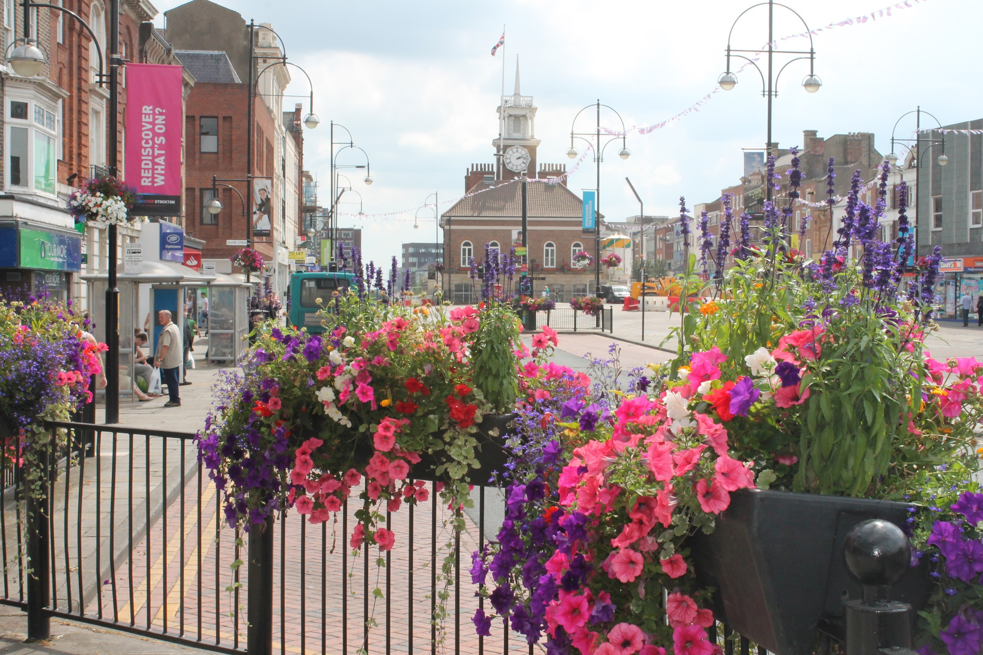 Flowers near Stockton's 18th Century town hall on the High Street