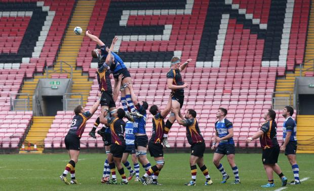 FIST PUMP: Mowden's Guy Van Den Dries gets a fist to the ball in the line-out during his side's 38-5 win over Caldy at The Northern Echo Arena on Saturday