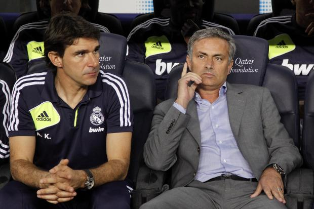 Darlington and Stockton Times: A SPECIAL APPOINTMENT? Aitor Karanka, left, will this morning be named as Middlesbrough's new manager. He is pictured next to Jose Mourinho during his three years at Real Madrid where he was assistant manager to the Portuguese