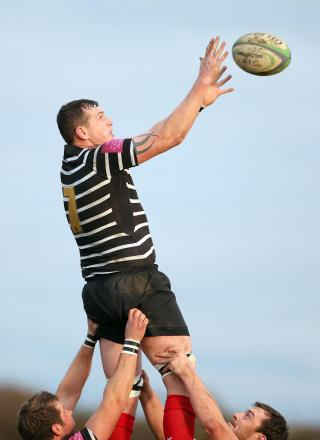 CLEAN CATCH: Kevin Gilroy wins line-out ball for Darlington in their 59-17 win against Novos
