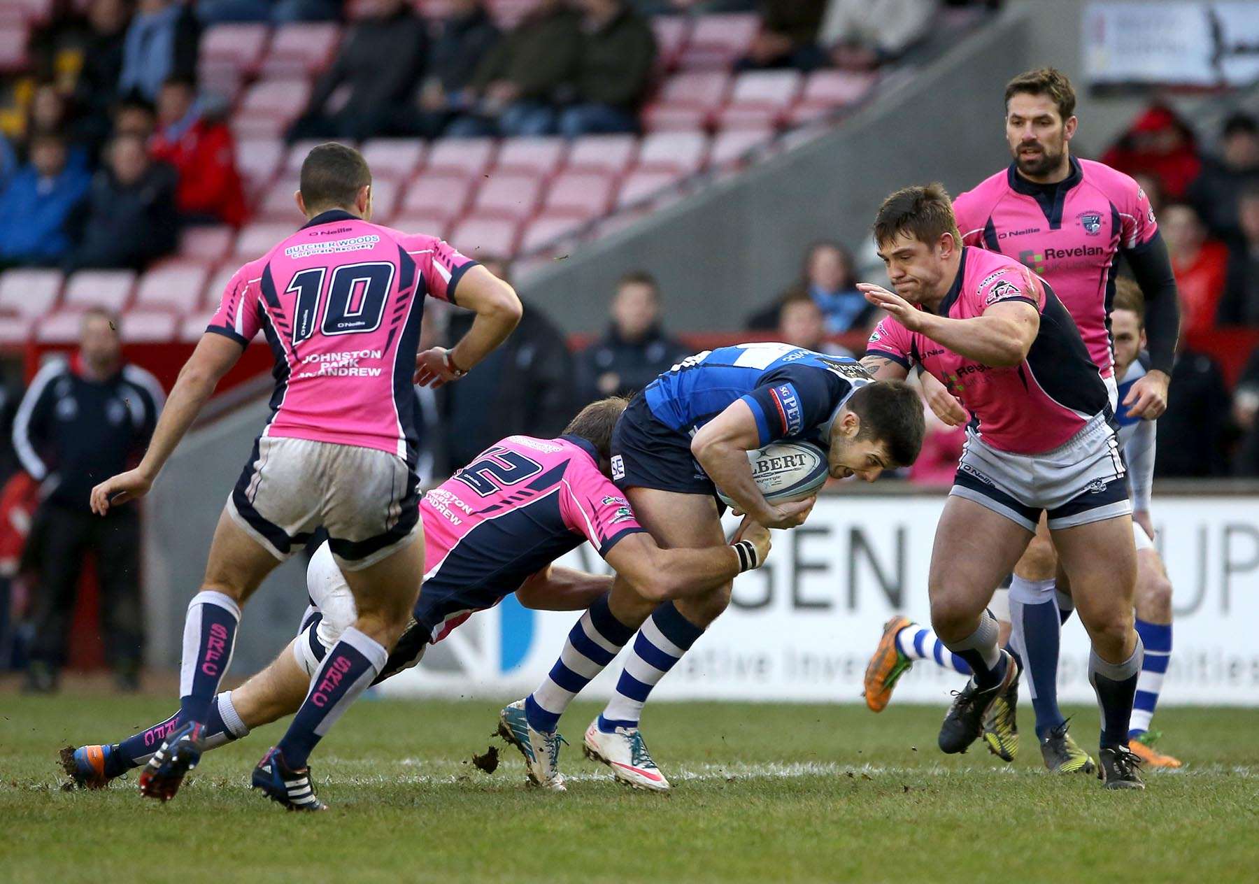 BIG PUSH: Henry Robinson on the attack for Mowden Park against Stourbridge on Saturday