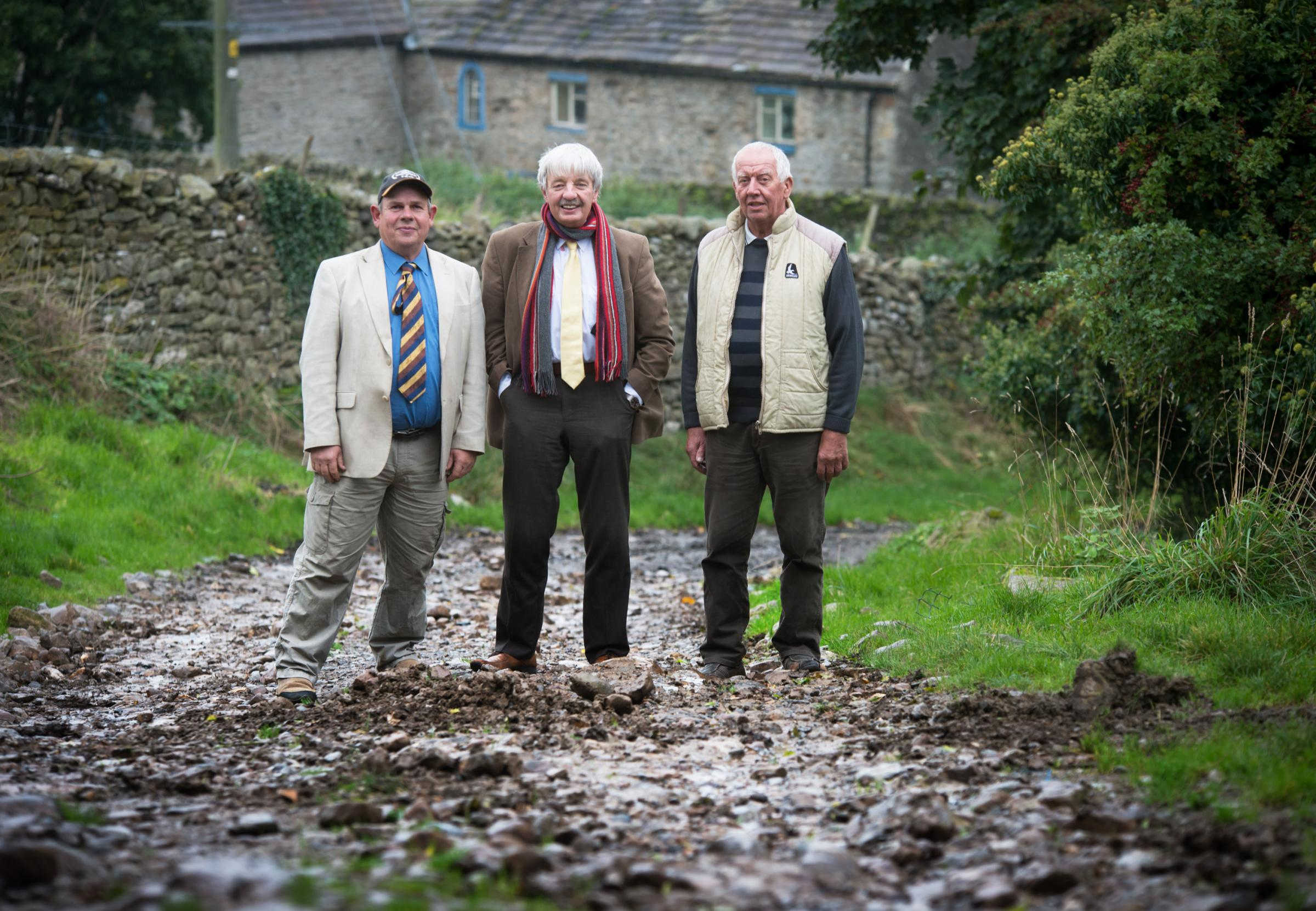 Coun Blackie is pictured with Coun Mathew Wilkes (right)  and Coun Brian McGregor (left), chairman of Aysgarth and District Parish Council
