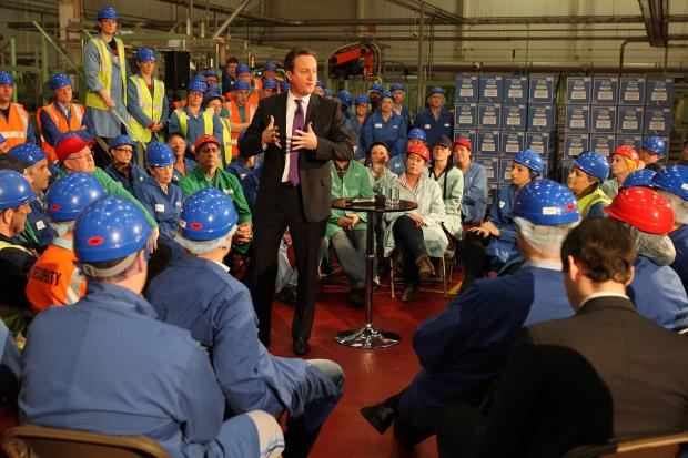 David Cameron speaks to workers at the Tetley Tea factory as he announces the Tees Valley City Deal.