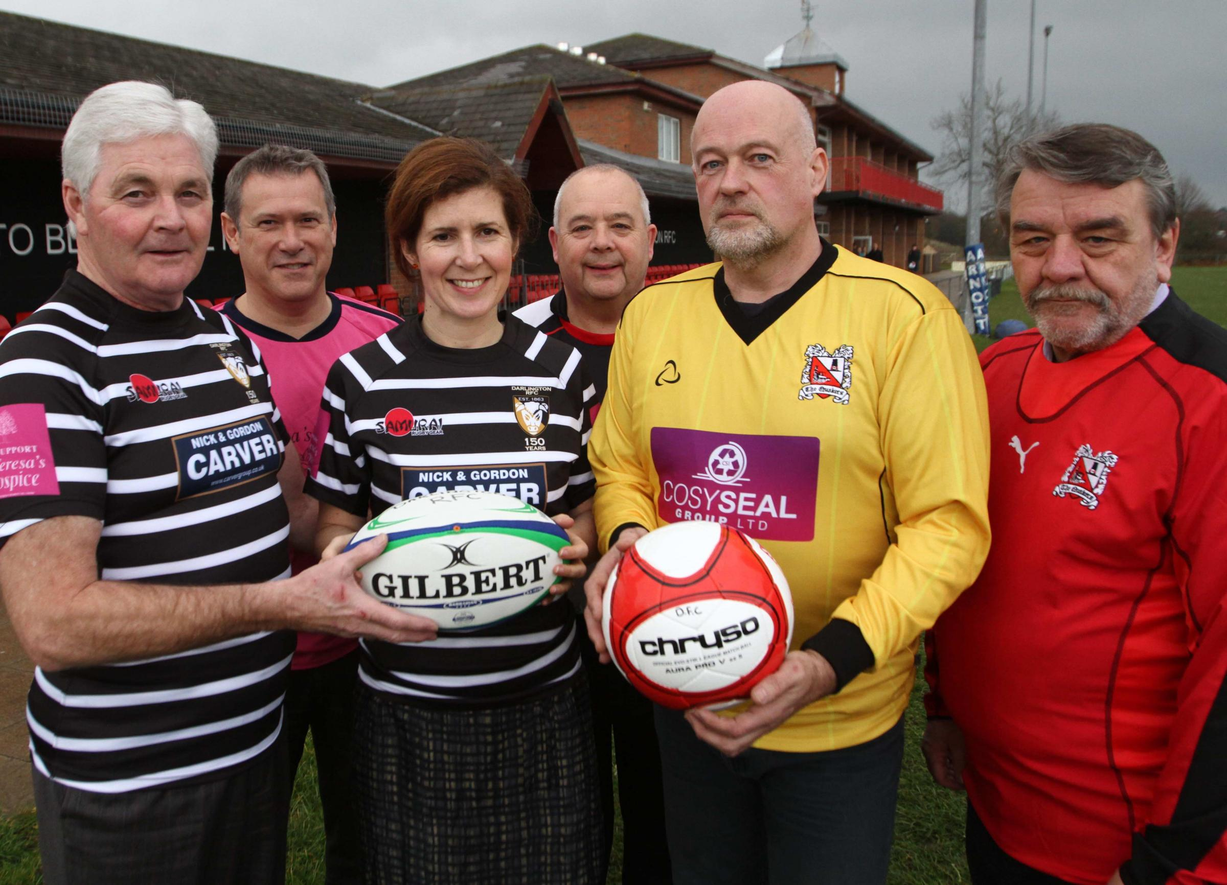 Mike Wilkinson from Darlington Rugby Football Club, Martin Jesper from Darlington football club, MP Jenny Chapman, Dave Mills from Darlington Football Club, Ian Wilkinson from Darlington Football Club and Coun Bill Dixon.