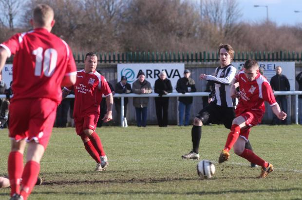 MEMORIES: Steven Johnson pictured scoring against Ashington last season