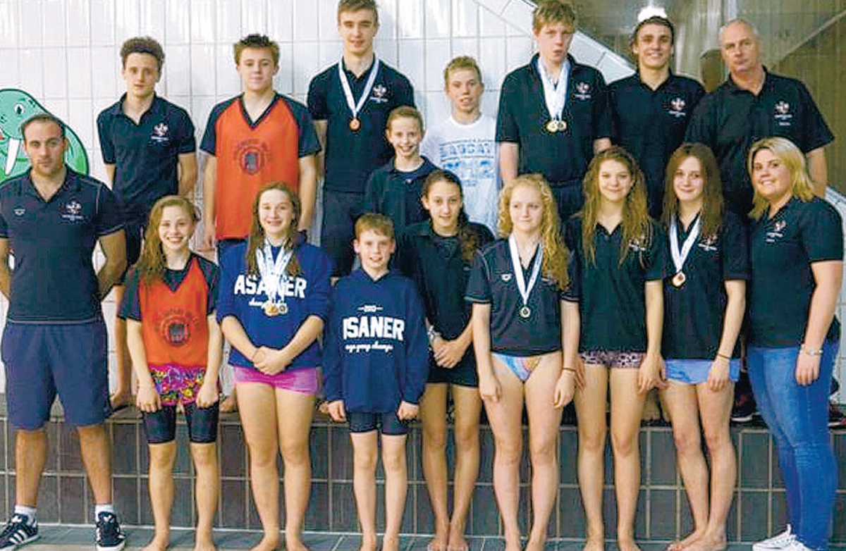 MEDALS HAUL: Richmond Dales ASC officials and swimmers who took part in the North-East Regional Championships