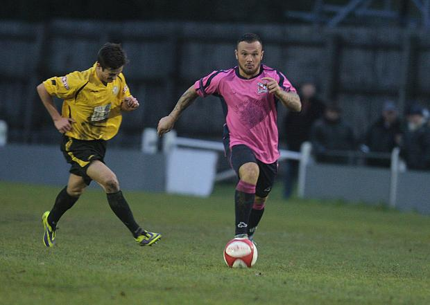 ON THE CHARGE: Stephen Thompson scored a hat-trick in Quakers' 7-0 win at Burscough