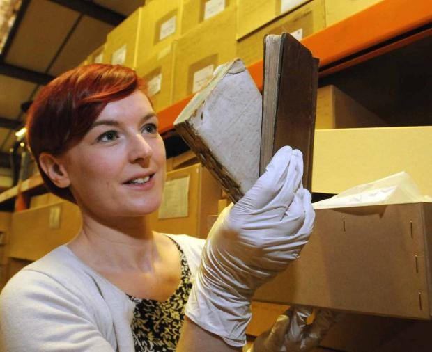 Darlington and Stockton Times: Katie Brown, Assistant Curator of History, with the First World War diaries unearthed in a Castle Museum store.