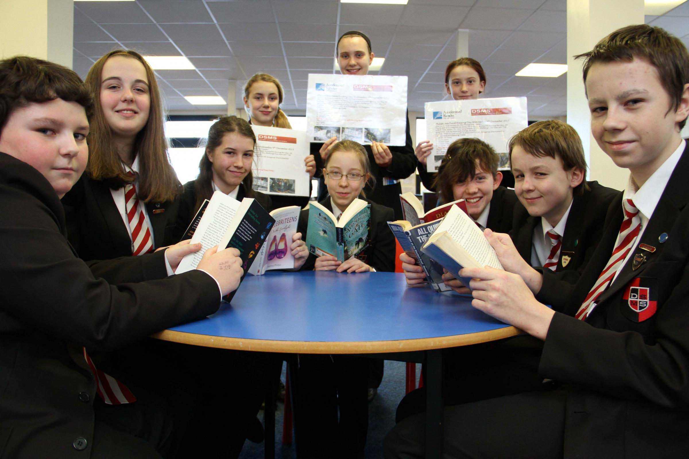DSMS students, L-R, back row, Ella Todd, 11, Olivia Smith, 12, Sirin Hill, 11, front, Andrew Nicoll, 13, Samatha Gould, 14, Je