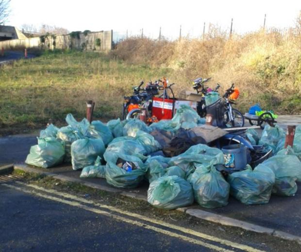 Darlington and Stockton Times: The bags of rubbish cleared from Middlesbrough cycle route