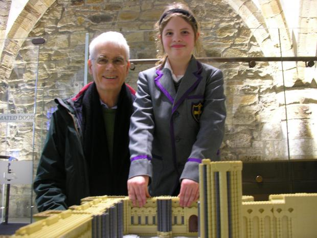 Darlington and Stockton Times: Robert and Beth Stenlake help build the Lego model of Durham Cathedral