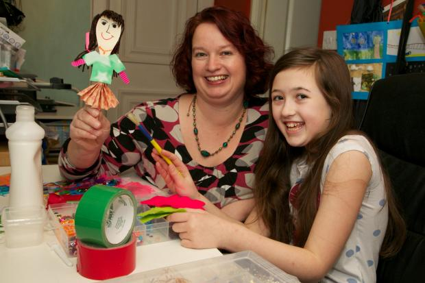 Darlington and Stockton Times: CRAFTY BUSINESS: Ellie Lloyd, 11, with her mother, Vicky, in their craft room at their home in Darlington
