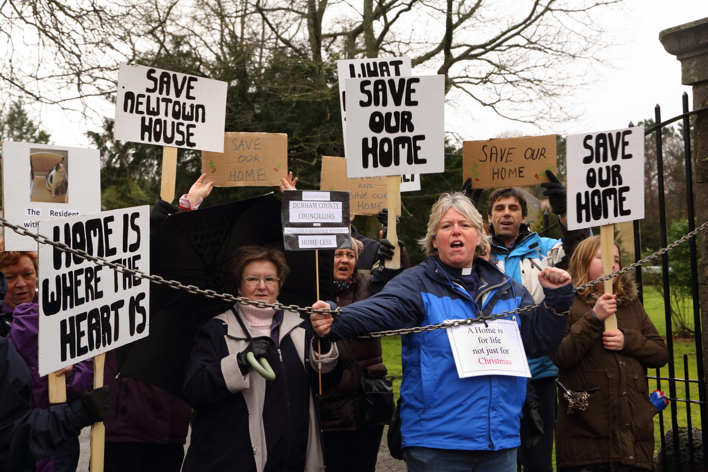 Deacon Sue Peat during the protest at Newtown House