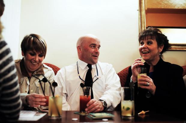 Darlington and Stockton Times: From left, Judith Wilkinson of Durham police, Vice Chair of Pub Watch Neil Hamilton and Julie Richings of Darlington council enjoy a non-alcoholic drink in the town's Three Crowns as part of a 'Dry January' pub crawl
