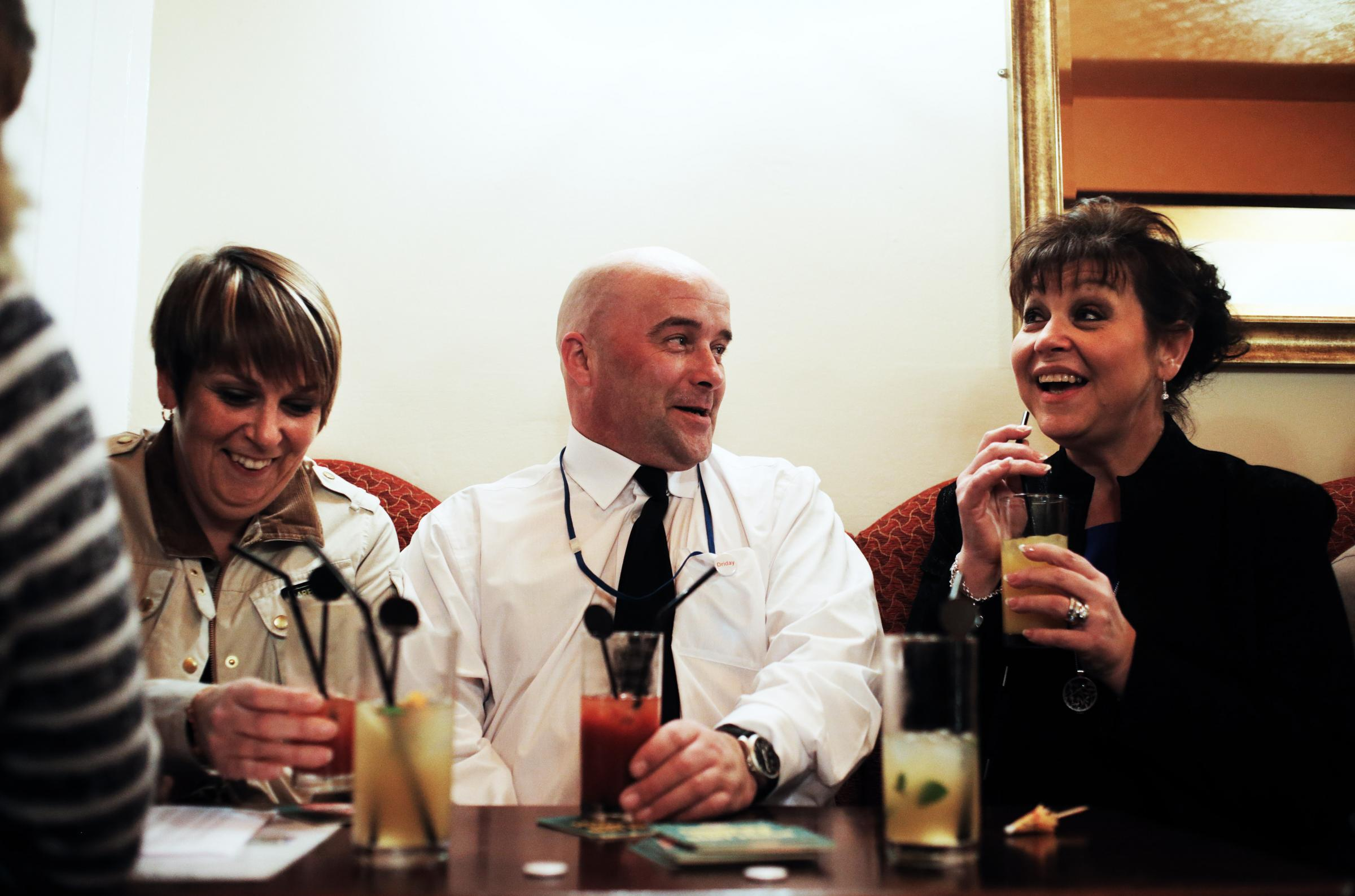 From left, Judith Wilkinson of Durham police, Vice Chair of Pub Watch Neil Hamilton and Julie Richings of Darlington council enjoy a non-alcoholic drink in the town's Three Crowns as part of a 'Dry January' pub crawl