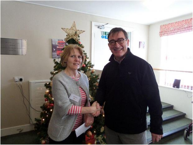 Christine Gall from Dales Care with Stephen Simpson from Bedale Dental Practise