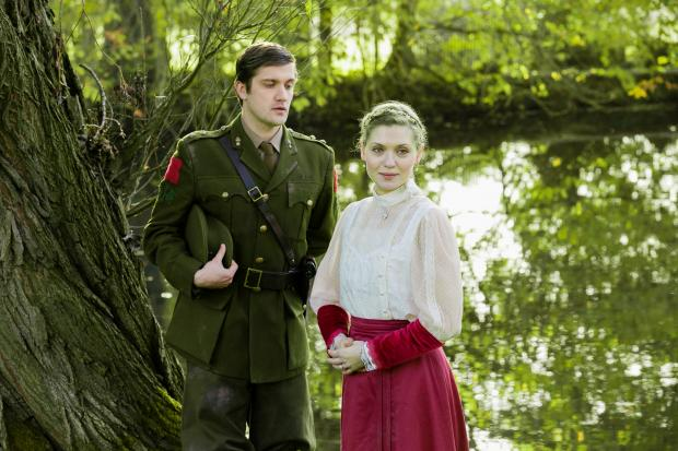 George Banks (Stephen Wraysford) and Carolin Stoltz  (Isabelle Azaire) in Birdsong
