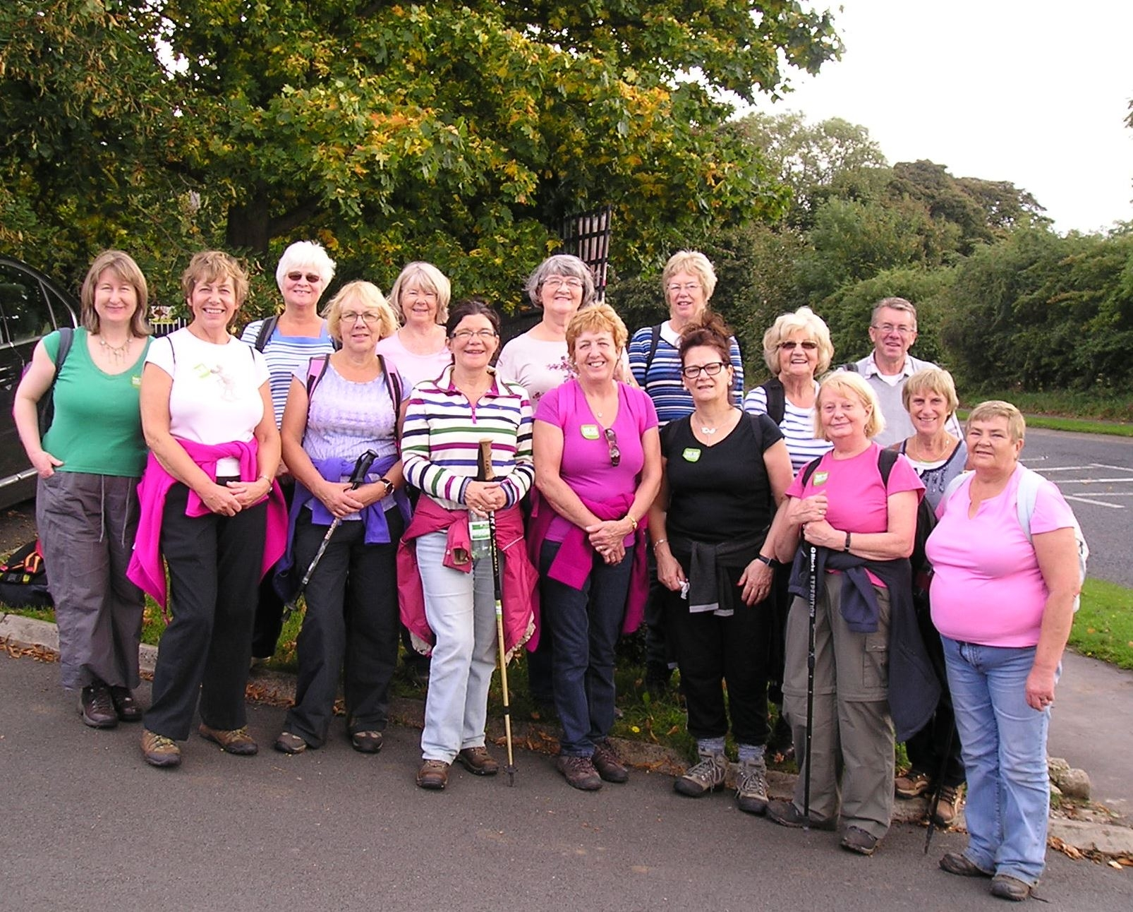 KFA Moves members on their sponsored walk in Low Coniscliffe in aid of Macmillan