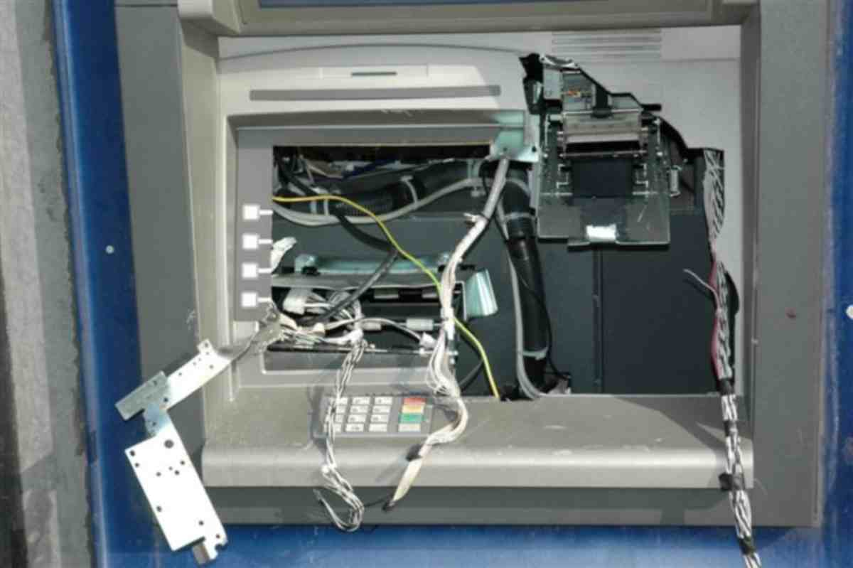 The damaged cash point
