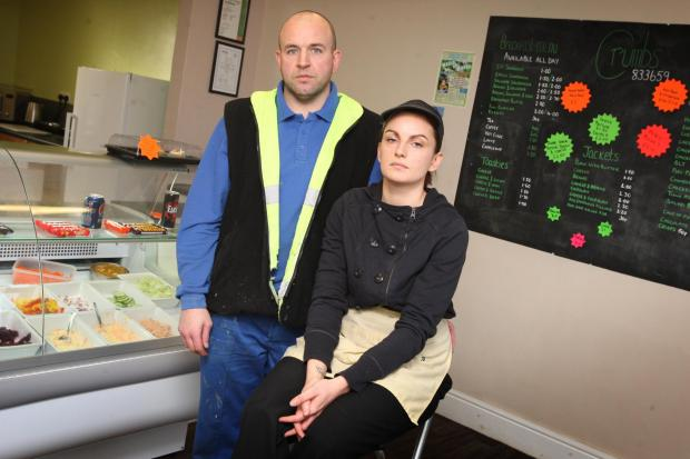 DEVASTATED: Fundraisers Chris Geddes, manager of Evenwood Town FC, and Rachael Turner, owner of Crumbs Snack Bar
