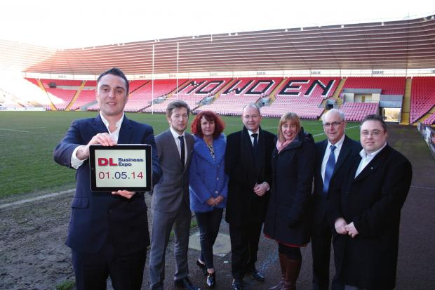 LAUNCH PAD: Lee Rust from Darlington Mowden Park RFC, left, with members of Darlington Business Club. From left: James Grant, Suzanne Clark, Patrick Masheder, Nicola Stephenson, John Whyte and Jayson Gurney