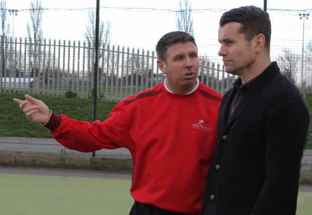 OFFICIAL OPENING: Martin Gray explains to Shay Given how his Football Academy operates
