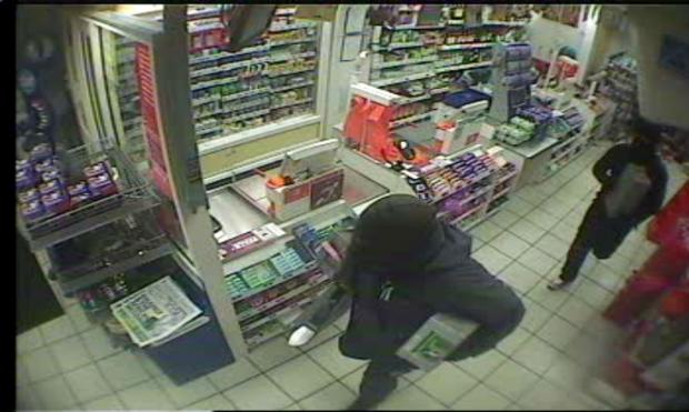 A CCTV image of the two armed robbers at the Sainsbury's store in Crescent Road, Middlesbrough