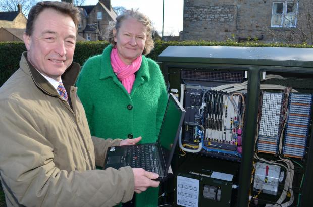 WARM WELCOME: Simon Roberson, North-East regional partnership director for BT, and Bishop Auckland MP Helen Goodman welcome the arrival of super-fast broadband to Barnard Castle.