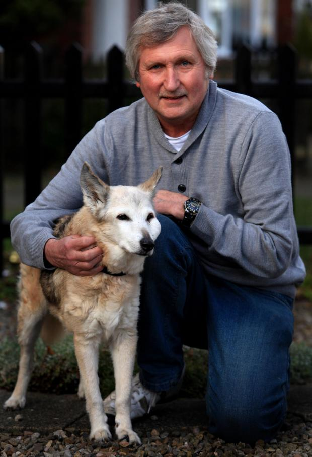 Darlington and Stockton Times: LONG LIFE: Shepherd-Whippet cross Sindy, with owner Dave Spence
