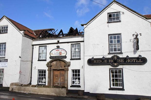 Fire damage at Bridge House Hotel