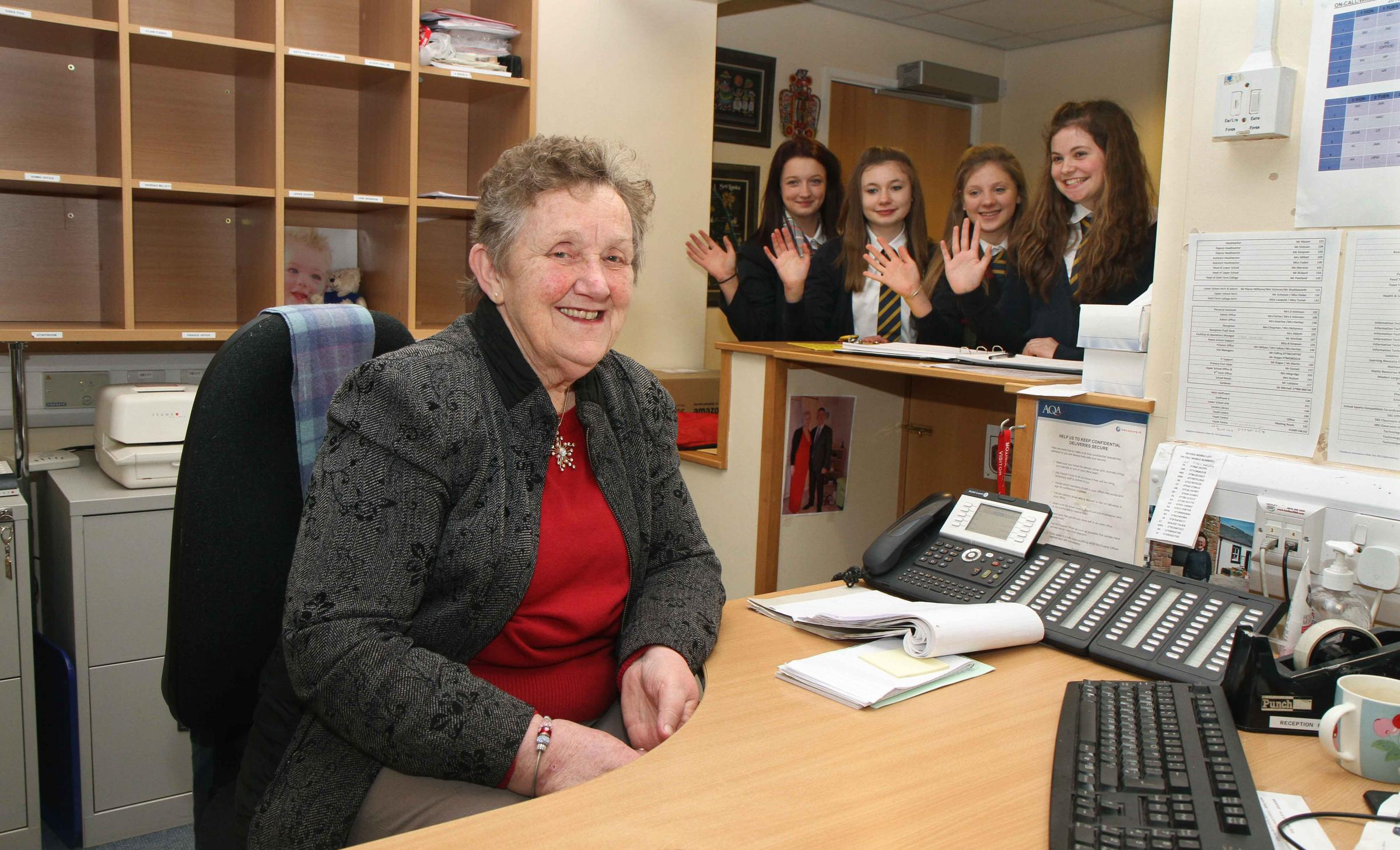 Farewell...Thirsk School receptionist Pat Chapman who is retiring after 40 years at the school, waved off by pupils (l-r) Emily Cox,15; Maisie Johnson,14; Lucy Gould,14 and Amy Brewer,15