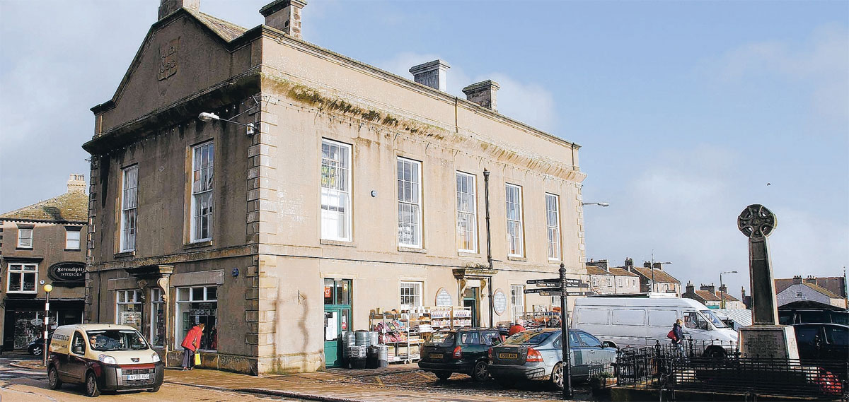 BUSY BUT DIGNIFIED: Leyburn Town Hall, built by Lord Bolton in 1856, and now shops
