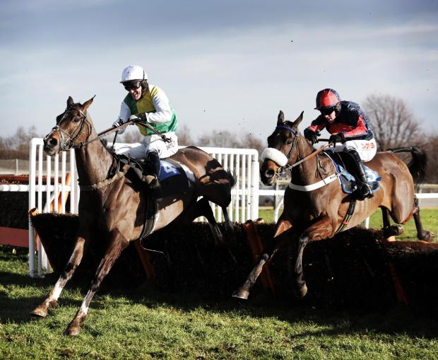 MCCOY WIN: AP McCoy on his way to victory in the Novices' Hurdle on Capote