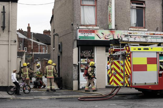 The scene of the fire in Yarm Road, Darlington