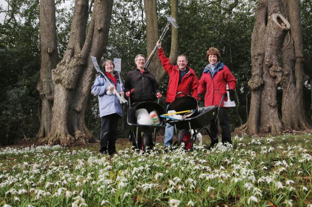 Donor David France, a stonemason from Darlington, third left pictured on Snowdrop Walk Day at the Priory woodland with volunteers from left Jenny Thomas, Doug Moore and Carol Robinson.