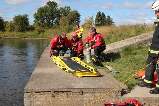 Cleveland fire brigade's swift water rescue team during a training exercise