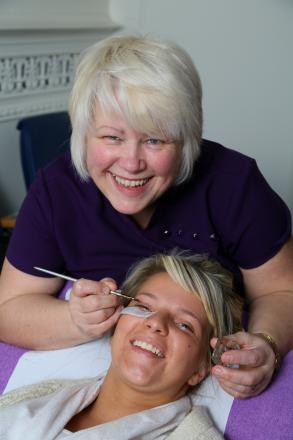 Caption: Bev Wood, Holistic and Beauty Therapist with Britney Shaw, HR Administrator