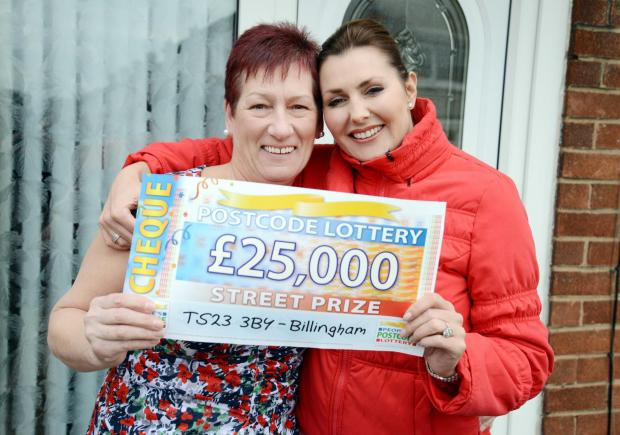People's Postcode Lottery winner Maria Wedgewood with presenter Judie McCourt