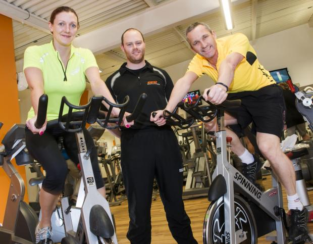 Two of Hambleton's winners Richard Jemison and Sara Livesley-Gardin are pictured with gym instructor, Luke Brudenell