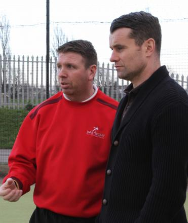 FOCUS: Martin Gray alongside Shay Given, showing him the football Academy at Eastbourn Sports Complex.