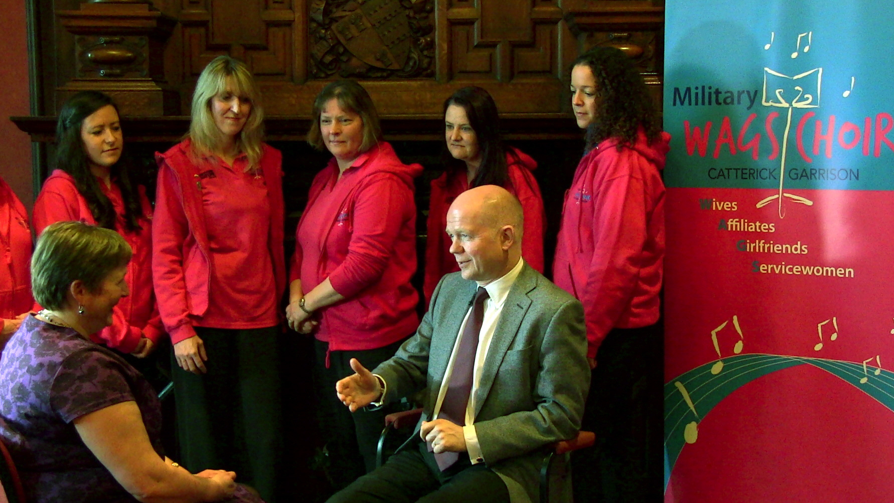 William Hague MP with WAGS choir director Carol Gedye and choir members