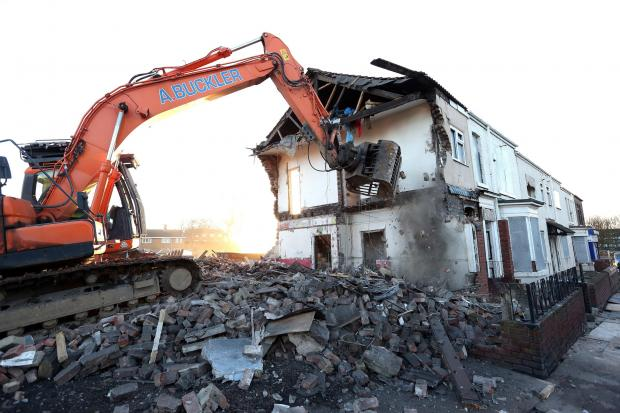 RUBBLE MAKING: Houses on Norton Road, Stockton, are demolished