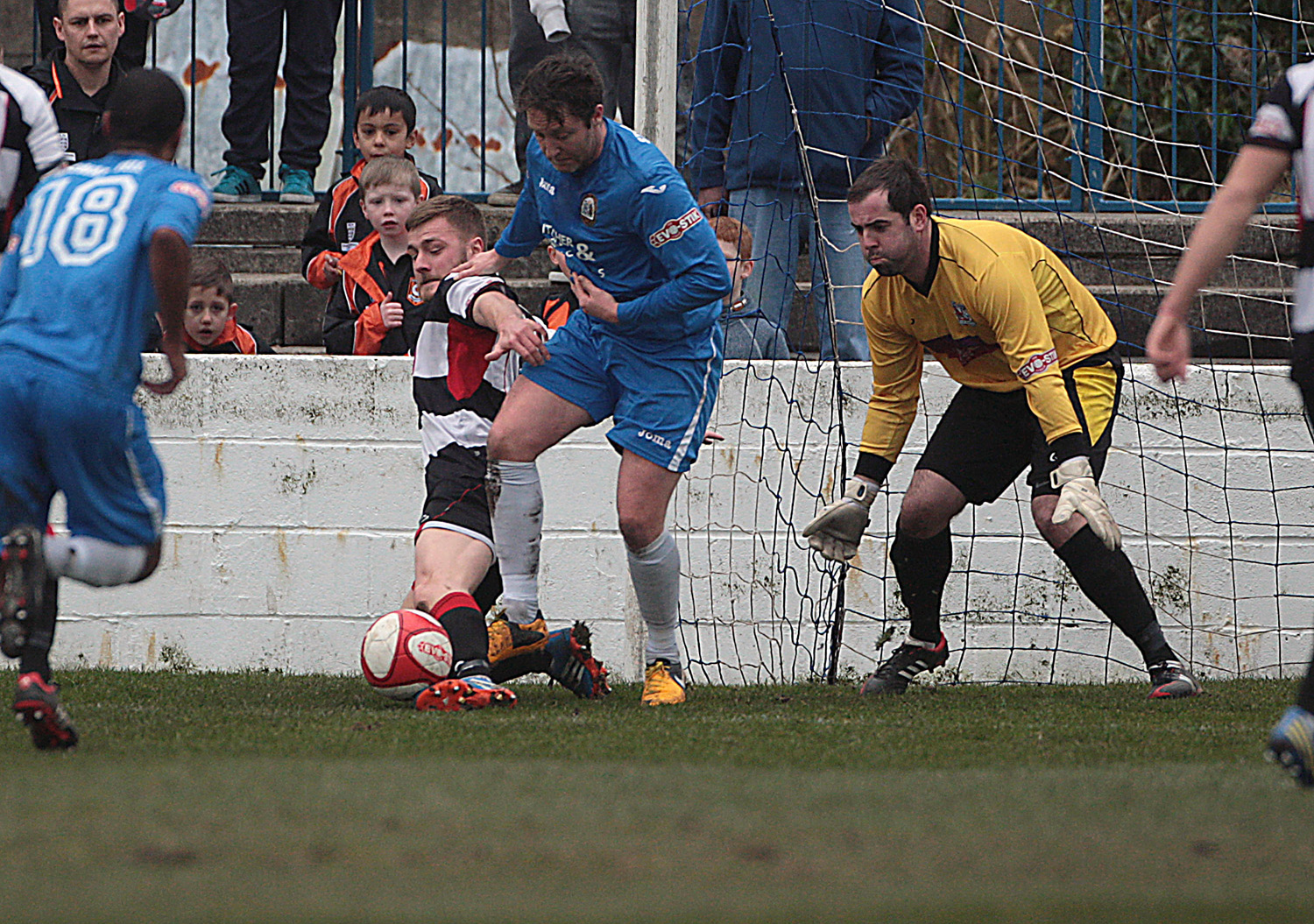 ROUTE BLOCKED: Darlington's Jordan Robinson and keeper Mark Bell thwart a Radcliffe Borough attack. Picture: Les Hodge