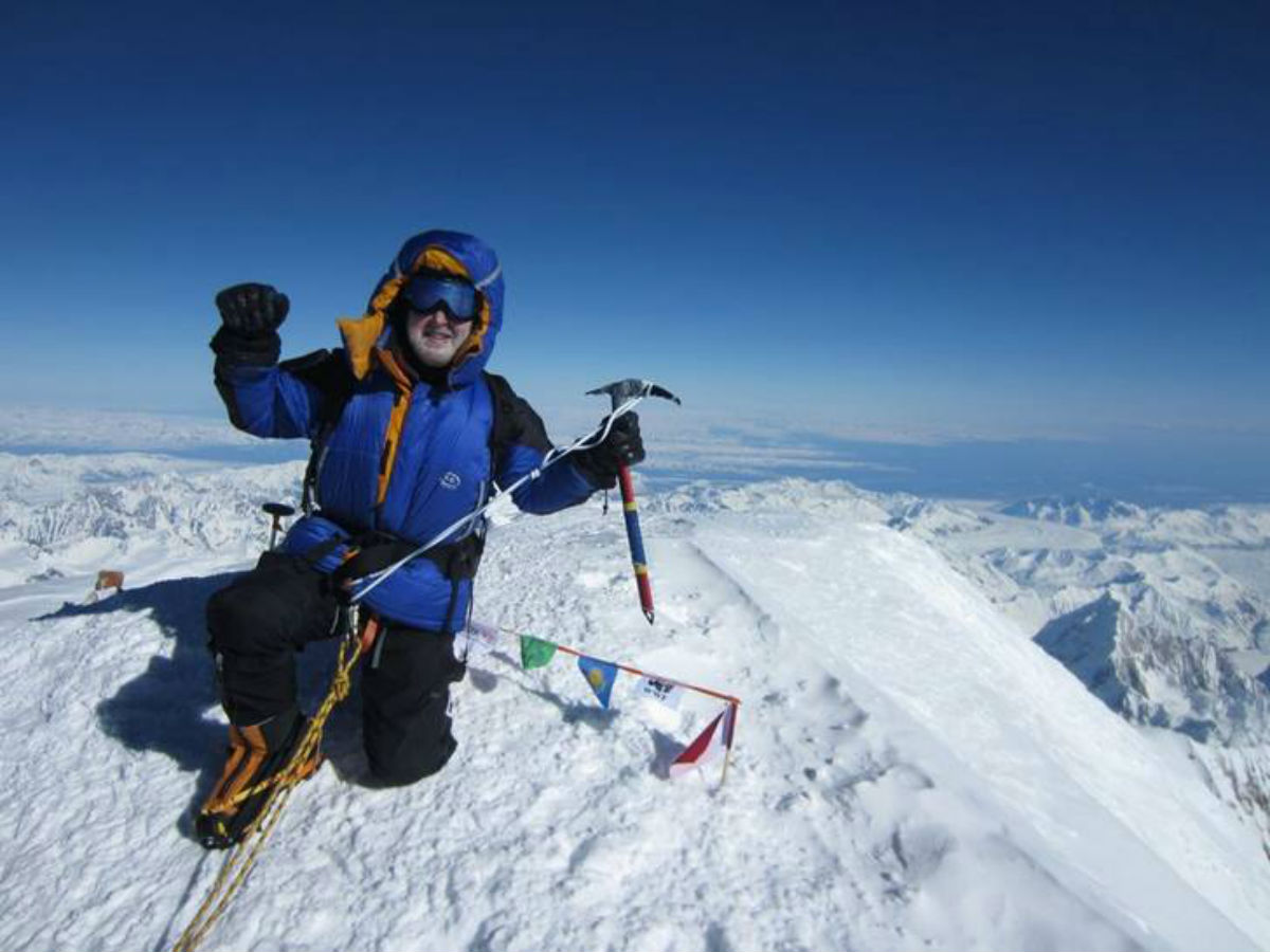PEAK PRACTICE: David Bradley at the summit of Mount McKinley, in Alaska.