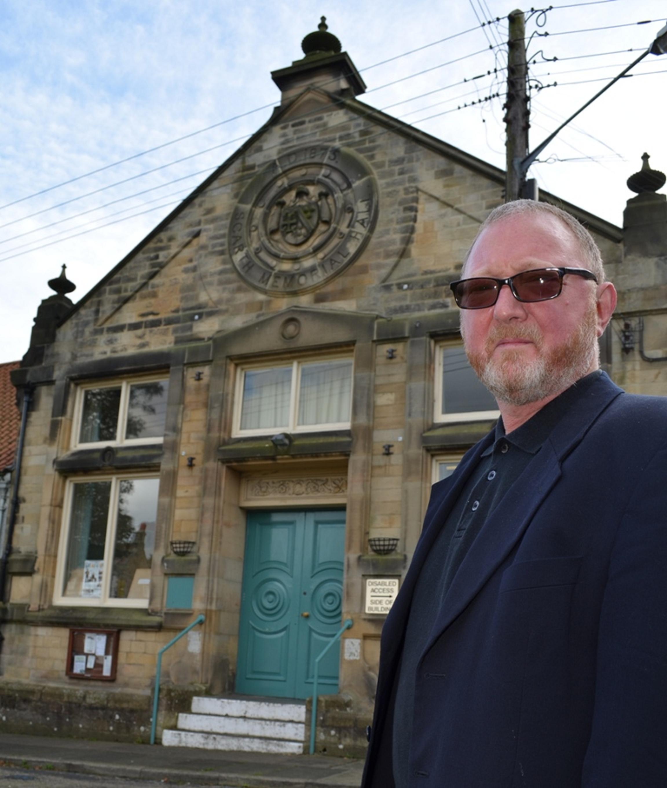 Morris Race, chairman of the trustees of Scarth Memorial Hall in Staindrop, outside the 19th century community building in Staindrop