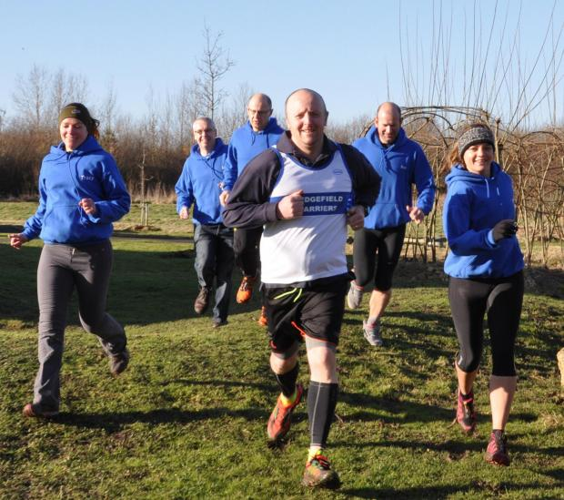 David Sawyer in training with fellow members of Sedgefield Harriers