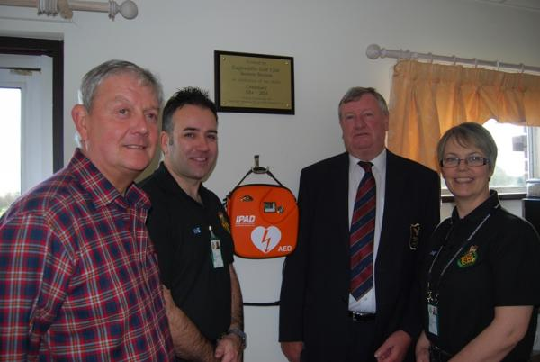 – left to right: Nick Clements, Peter Fields, North East Ambulance Service, Community Resuscitation Team, Bob Everett, Club Captain and Adele Young, North East Ambulance Service, Community Resuscitation Team