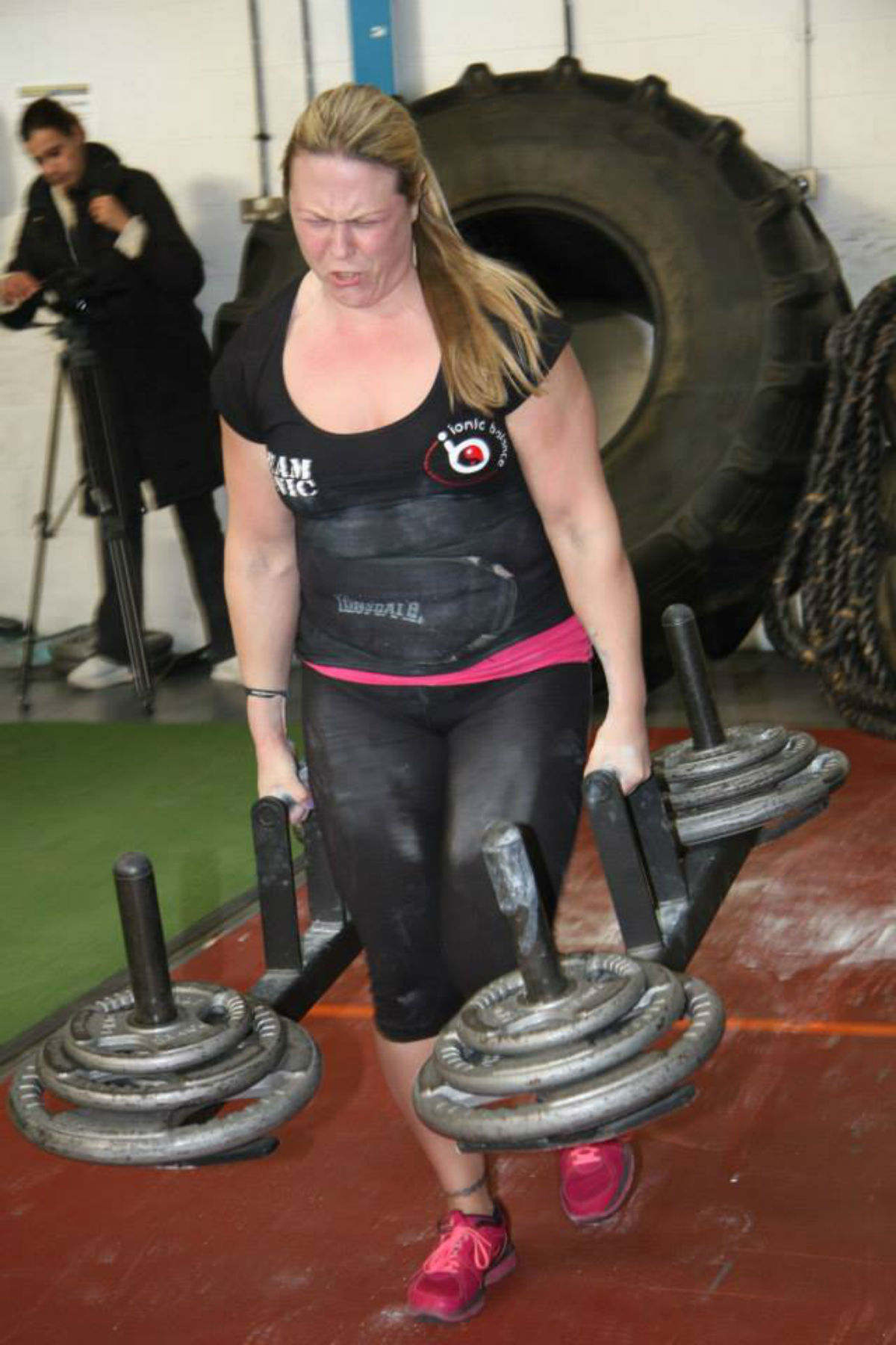 POWER SURGE: Donna Moore competing at Britain's Strongest Woman contest.