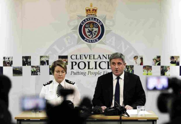 Chief Constable Jacqui Cheer and Director General of the National Crime Agency Keith Bristow at the press conference.